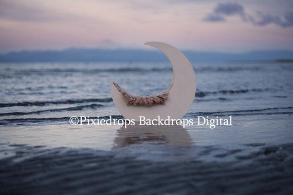 Newborn Moon Prop Digital Download 4 FILES Digital BackdropsProps Newborn Photography Prop, Beach Moon Prop at Sunset