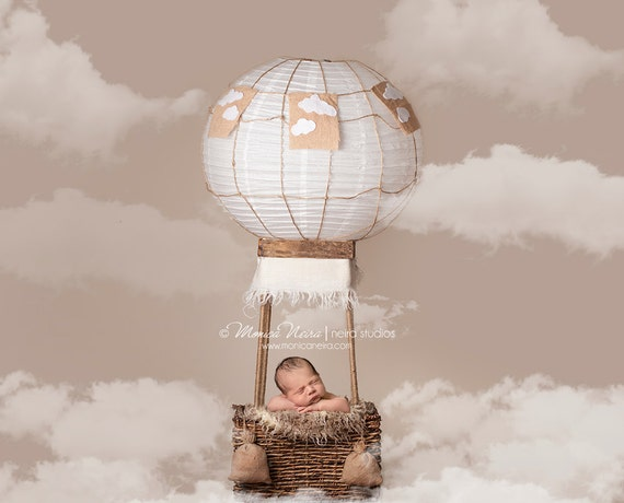 Digital Backdropsprops Newborn Hot Air Balloon Prop With Etsy