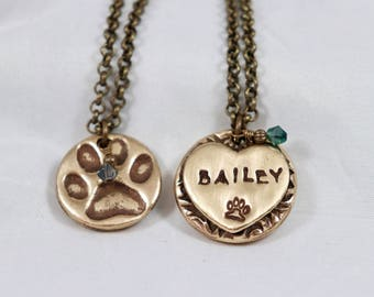 Personalized Two Sided Dog Memorial Paw Print Bronze Pendant With Necklace, Custom Pet Sympathy,Loss, & Remembrance