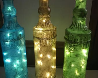 Set Of 3 Painted bottles with lights