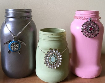 Hand painted Mason jar with jewels