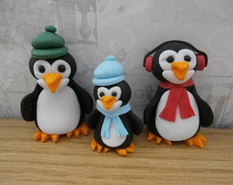 Edible sugar paste Penguins, Christmas cake topper, cake decoration
