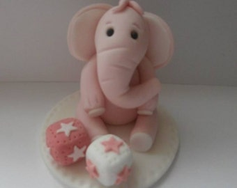 Edible elephant,christening,birthday,cake topper, sugarpaste, decoration,boy,girl