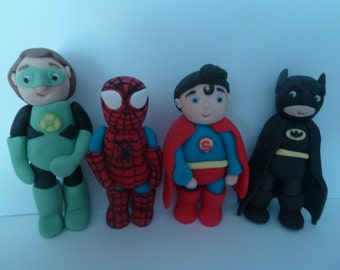 Edible Super Hero's, Birthday cake topper,boy girl,batman spiderman,green lantern,superman,cake decoration