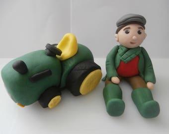 Edible tractor and farmer, cake topper,decoration,birthday,retirement,sugarpaste