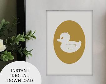 Rubber Ducky Art Print Digital Download for nursery, Rubber Ducky printable art, Nursery wall art, Kids Bedroom Wall Art, Art for Bathroom