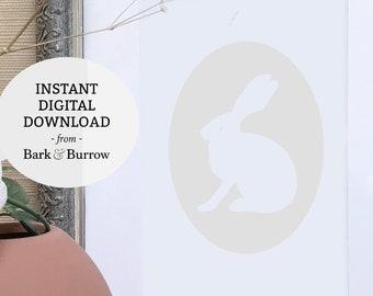 Rabbit Art Print Digital Download - Ivory Jackrabbit cameo art print,Rustic Wall Decor,Rustic Art Print, Farmhouse Wall Decor,Bunny Wall Art