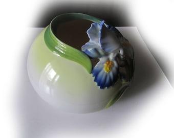 Vintage porcelain iris flower vase with mark Graff porcelain