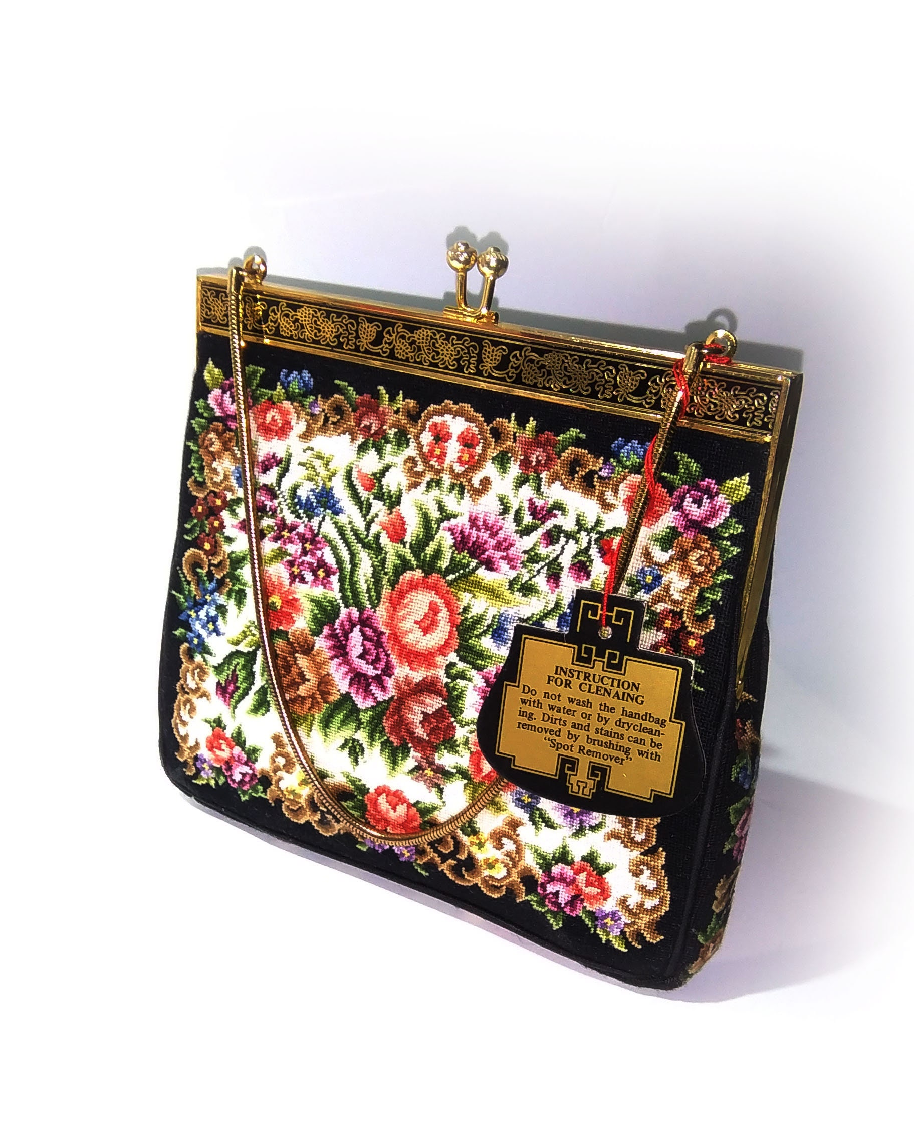 Vintage Hand Made Petit Point Floral Embroidery Purse Etsy