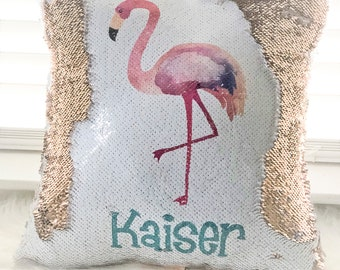Personalized Flamingo Reversible Sequin Pillow Cover, Hidden Message Pillow cover, Birthday Pillow Cover