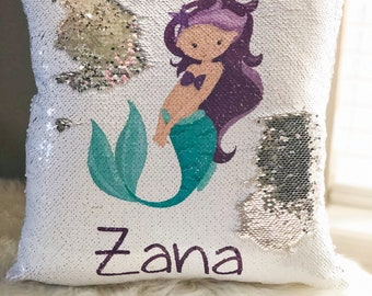 Personalized Mermaid Sequin Pillow Cover - Custom Reversible Sequin Pillow Cover - Hidden Message Pillow cover - Birthday Pillow Cover