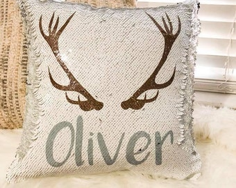Personalized Boy Reversible Sequin Pillow - Custom Pillow for Boy - Antler Pillow Cover