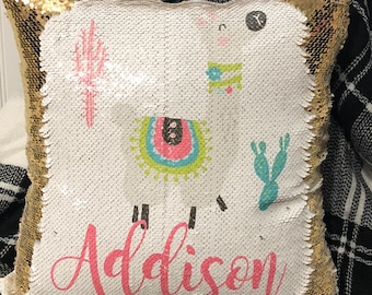Personalized Llama Sequin Pillow Cover - Llama Custom Reversible Sequin Pillow Cover - Hidden Message Pillow cover - Birthday Pillo