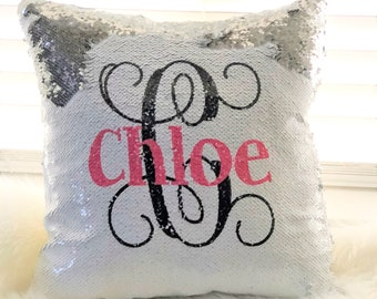 dfdb1ba11e94a3 Monogrammed Reversible Sequin Pillow Cover, Custom Mermaid Sequin Pillow  Cover , Hidden Message Pillow cover, Birthday Pillow Cover