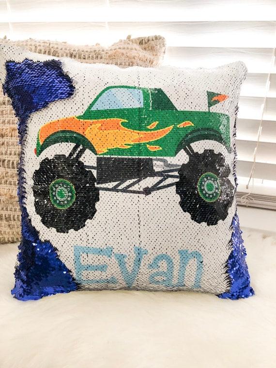 Custom Boy Monster Truck Sequin Pillow Cover Custom Boy Etsy