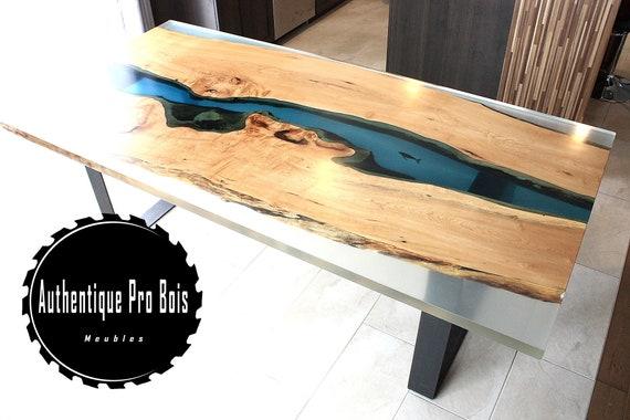 sold table en rable live edge et resine epoxy vendu etsy. Black Bedroom Furniture Sets. Home Design Ideas