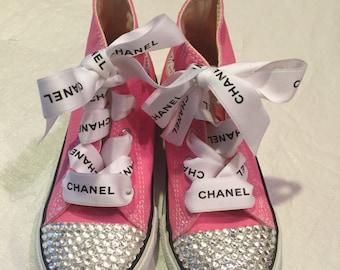700f2ec2f94de2 Prada laces pink converse clear stones