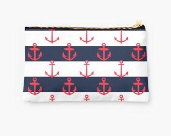 Nautical Anchor Striped Studio Pouch