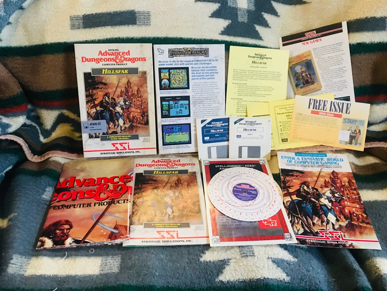 Advanced Dungeons and Dragons Hillsfar - Atari ST Video Game - W/ Box,  Inserts & Manual