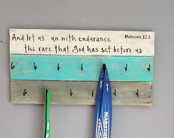 Running medal holder, And let us run with endurance, wood medal and race bib display, gift for runner