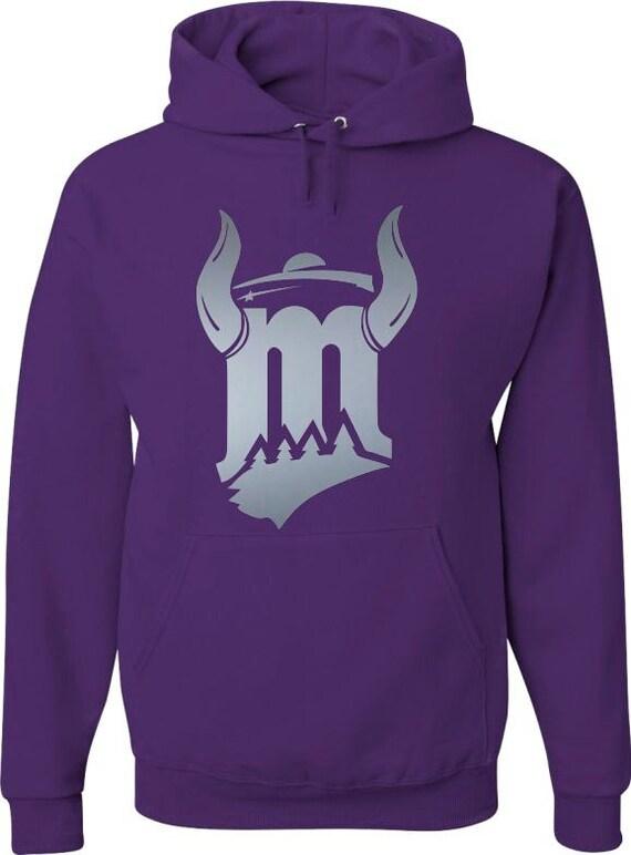 Sweat capuche violet avec argent M Cornu