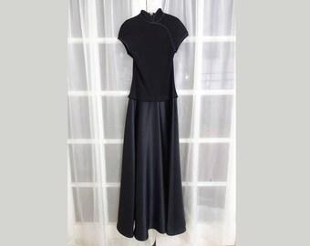 RESERVED. 80s Tadashi Saks 5th Ave Modern Minimalist Cheongsam Evening Dress - Satin MockNeck Cheongsam Dress - Black Satin Prom Dress Size8