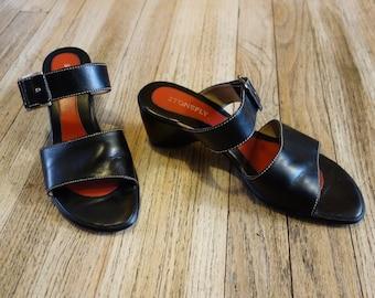 90s Basic Black Leather Slingback Mules - Italian Chunky Heel Wedge Sandals by Stonefly Size 41