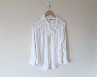 80s Poet Blouse  White /& Black Stripe Rayon Billowy Loose Fit Blouse Button Front Romantic Minimalist New Wave Style