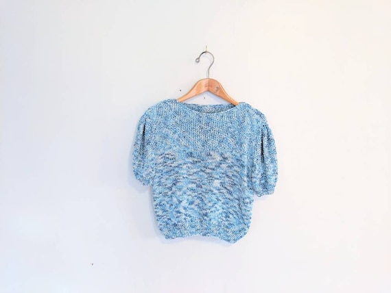 80s Vintage Softgirl Chunky Sweater Hand-knit Blue