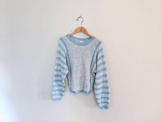 70s Hand-knit Blue Striped Pastel Confetti Sweater