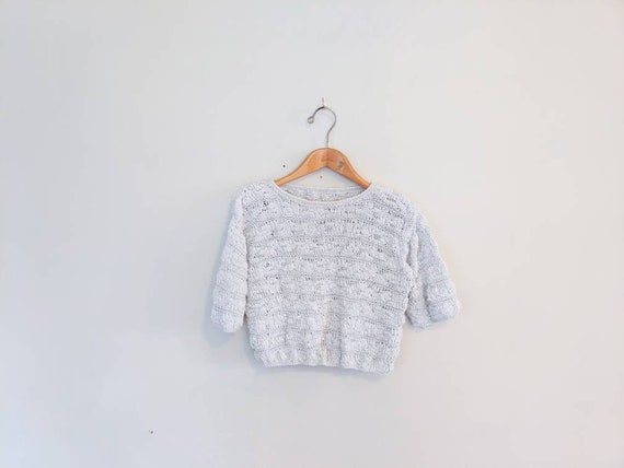 70s Vintage Short Sleeved Chunky Sweater - Hand-kn