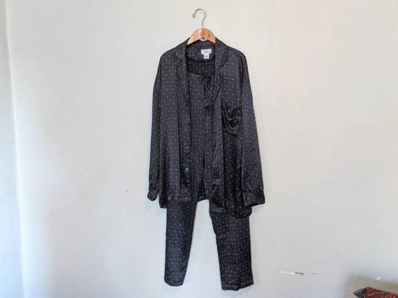Vintage 90s Dark Gray Printed Silk Satin Pajamas -