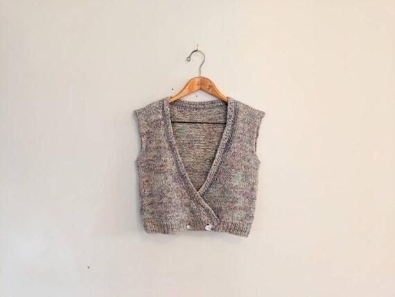 70s Vintage Hand-knit Speckled Wool Sweater Vest w