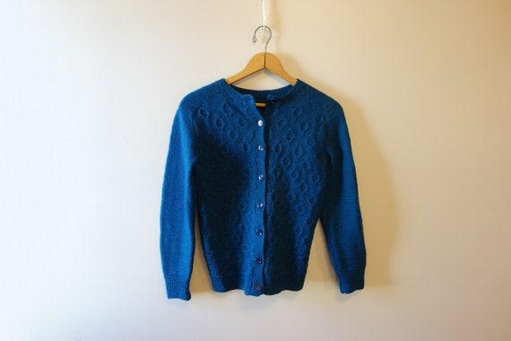 Hand-knit Wool Fisherman Sweater Cardigan