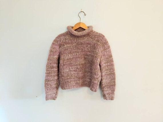 70s Hand-knit Minimal Muted Pink Wool Chunky Sweat