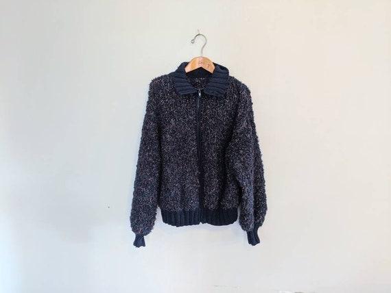 80s Grunge Chunky Sweater Hand-knit Cardigan Sweat
