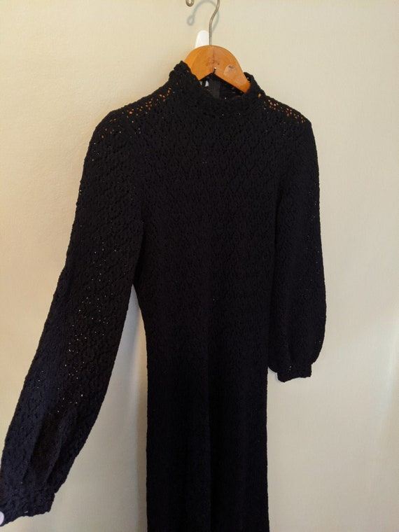 Vintage 70s Hand Crocheted Black Maxi Dress - Croc