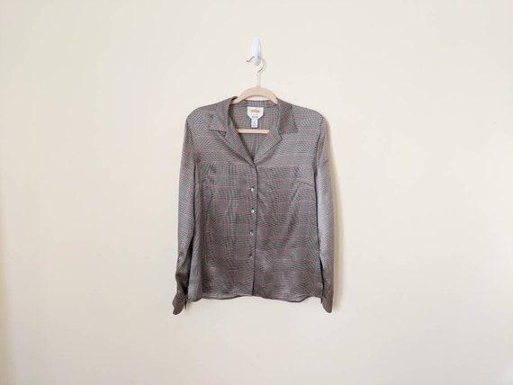 Vintage 90s Plaid Silk Satin Shirt - Luxe Silk Shi