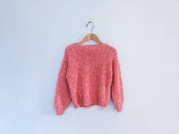 70s Vintage Hand-knit Bubblegum Pink Eyelash Sweat