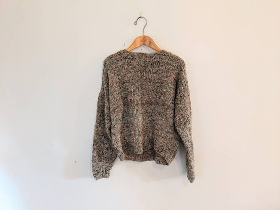 70s Hand-knit Earthy Wool Sweater - Textured Knit