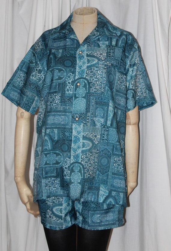 Vintage Hawaiian cabana set, men's swim trunks and