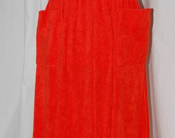 vintage terry cloth maxi dress, orange lounger, sleeveless terry maxi, 70s beach cover up, stretch terry, zip front maxi, resort wear