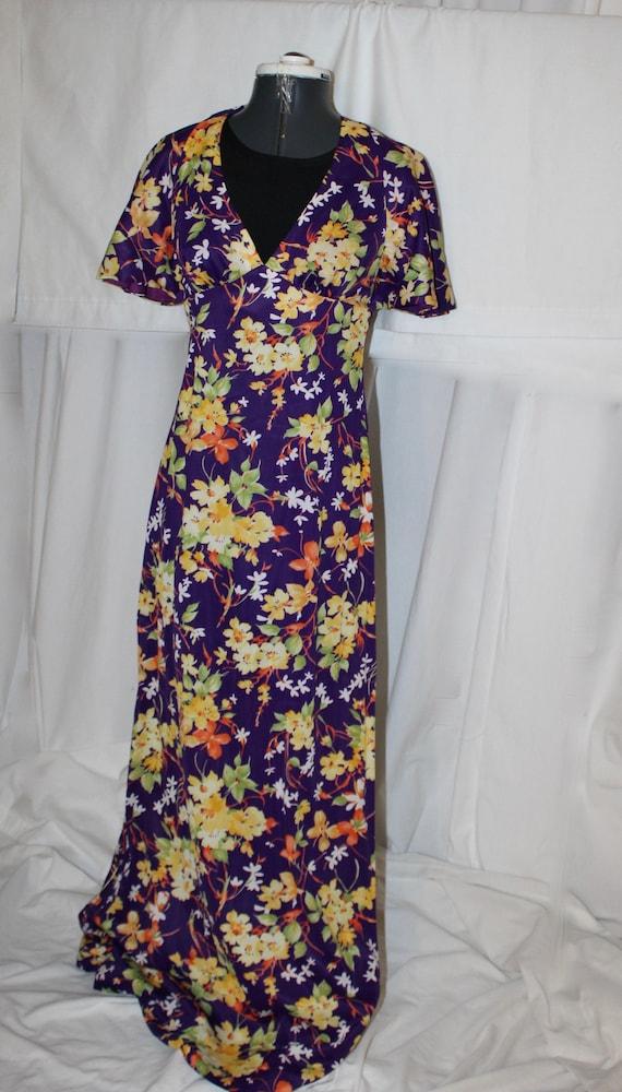 vintage 70s halter maxi dress pink purple chrysanthemum flower floral print LARGE L
