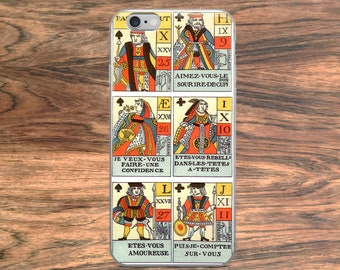 Vintage playing cards iPhone 6 7 8 Plus X case, 18th century French kings, queens on antique gambling and game cards