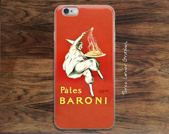 Foodies iPhone 6 7 8 Plus X case, quirky vintage ad for pasta lovers, cooks, chefs, vintage lovers