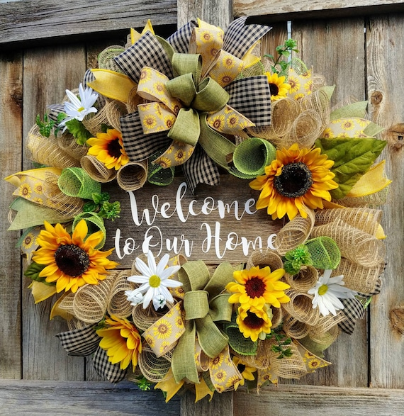 Sunflower Wreath Welcome Wreath Summer Wreath Welcome To Etsy
