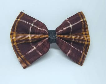 Fall Autumn Plaid Flannel - Fall Dog Bow Tie - Fall Hair Bow - Autumn Dog Bow Tie - Autumn Hair Bow