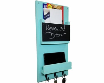 Urban Mail Organizer Memo Chalkboard, Shelf, Wall Hooks, Mail & Key Organizer, Entryway Wall Organizer- 20 Colors: Shown in Sea Blue
