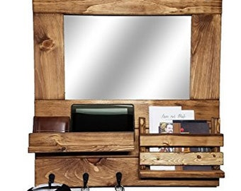 rustic wood mirror rustic modern farmhouse entryway rustic mirror wall mount organizer mail holder and shelf customize with up to hooks 20 colors early american mirror etsy