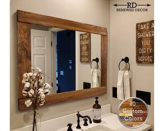 Rustic Bathroom Mirror Etsy